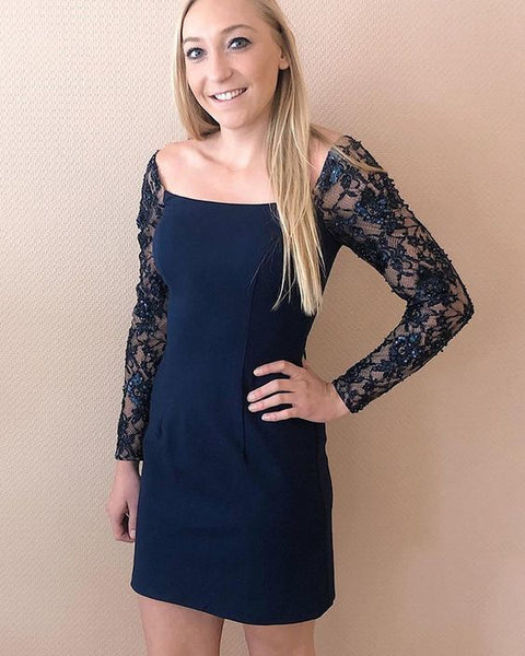 Tight Square Navy Blue Satin Homecoming Dress with Lace Long Sleeves ,6208