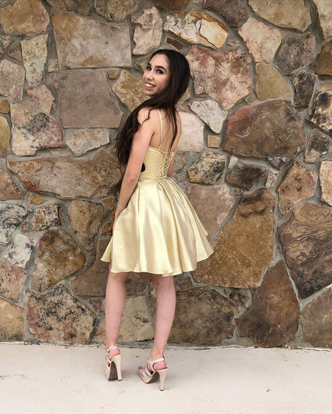Gold Short A-line Homecoming Dress with Spaghetti Straps,6211