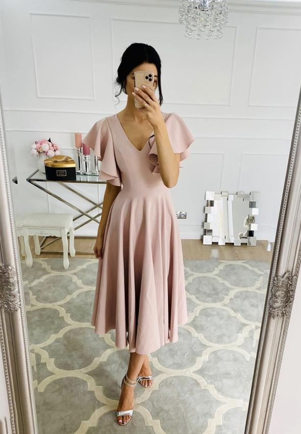 Pink chiffon short prom dress homecoming dress,6214