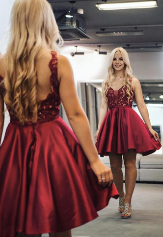 Burgundy lace satin short prom dress party dress,6215