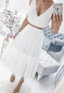 White v neck tulle short prom dress hoco dress,6216