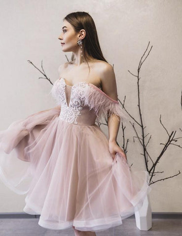 Pink tulle lace short prom dress party dress,6220