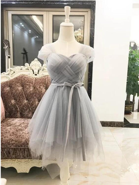 Cap sleeve tulle grey short homecoming dress, cute prom dress,6228