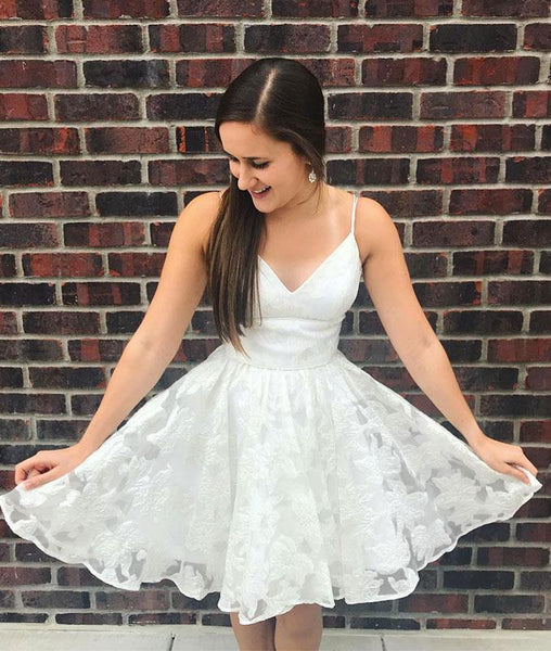Spaghetti Straps A Line Prom Dress, Lace Short White Homecoming Dress ,6243