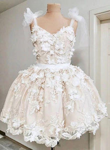 Cute Straps Lace Short White Prom Dress, Mini Homecoming Dress,6245