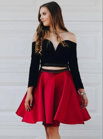 Long Sleeve Black and Red Two Piece Prom Dress, Short Homecoming Dress,6251