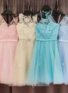 Cute Tulle A Line Short Homecoming Dress, Graduation Prom Gowns.6259
