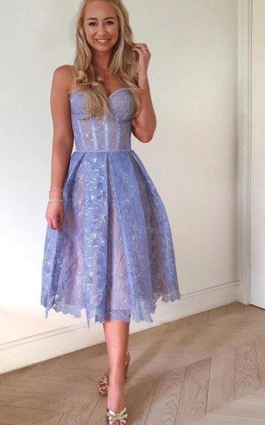 Sleeveless Lavender Lace Short Prom Dress, Girl Party Dress,6265