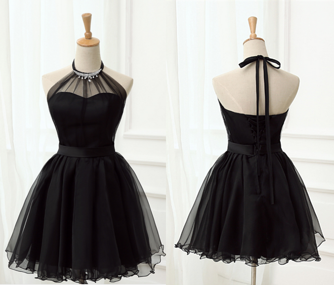 Tie Halter Little Black Dress Hoco Party Homecoming Dresses.6277