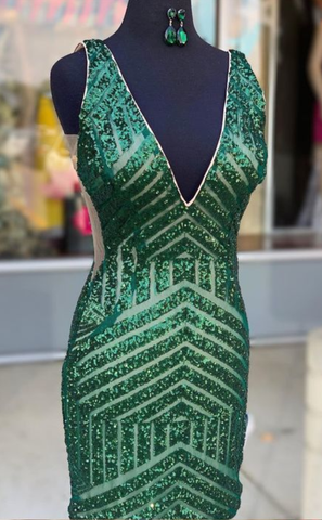 Tight Green Sequins Short Prom Dress,V Neck Party Dress,6279