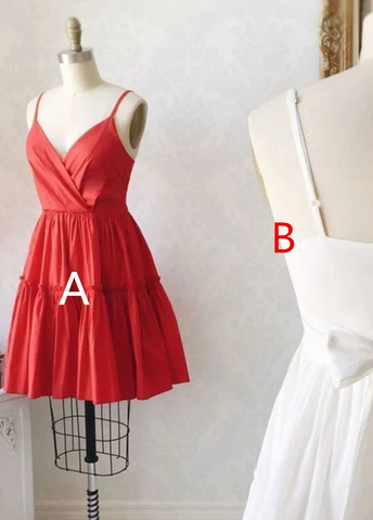 Fashion Lux Cute V neck Spaghetti Straps Red Prom Party Dress, Mini Cocktail Dress,6281