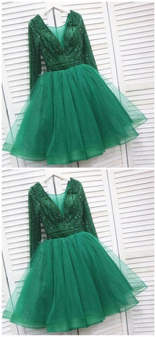 Sassy Wedding Sparkly Tulle Emerald Green Short Homecoming Dress, Beaded Prom Dress,6283