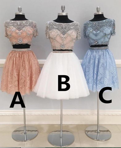 CUTE TWO PIECES TULLE BEADS SHORT PROM DRESS, HOMECOMING DRESS,6309