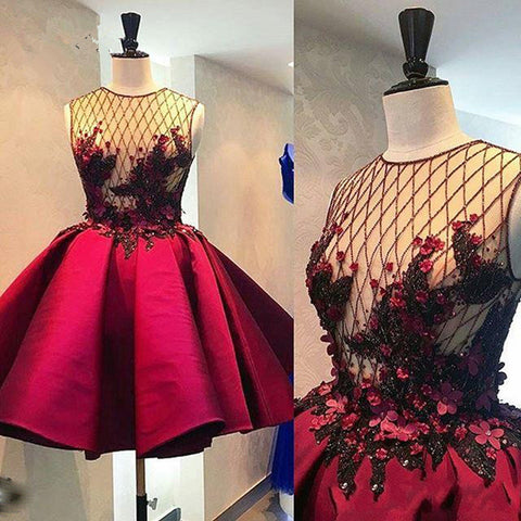 Sexy Sheer Red Prom Dress Short A Line Satin Appliques 2020 Party Dresses Gowns,6310