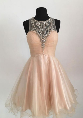 Champagne tulle short prom dress, cute homecoming dress,6314