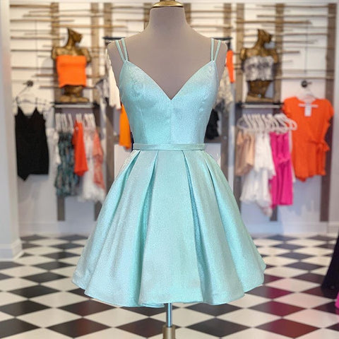 Cute Green V Neck Homecoming Dress,Straps Short Prom Dress,Winter Formal Dress,6319