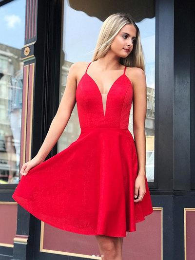 Red sweetheart short prom dress, red homecoming dress.6351