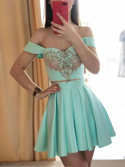 Green two pieces short prom dress, green homecoming dress,6352