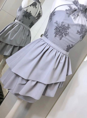 Unique High Neck Homecoming Dress with Appliques, Short Prom Dress with no Sleeves, Two Layers Mini Sweet 16 Dress,6358