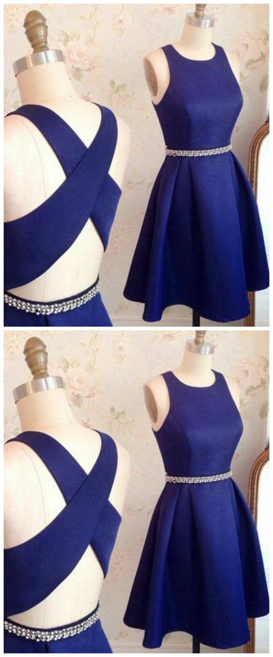 Navy Blue Criss Cross Back Short Prom Dress, Elegant Satin Party Gown,6369