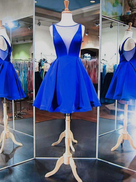 Simple Royal Blue Homecoming Dresses with V Neckline Sexy Short Prom Party Gowns,6383