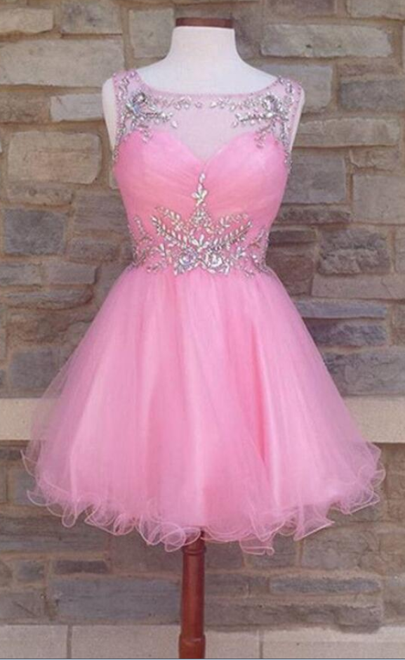 Sexy Off Shoulder Pink Tulle Short Homecoming Dress With Beaded, Short Cocktail Dress, Junior Party Gowns,6385