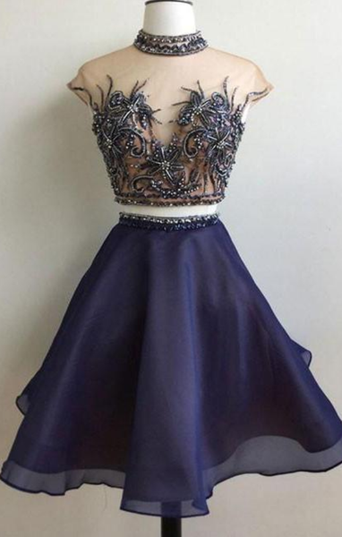 Two Piece High Neck Organza Short Prom Party Dress,6386