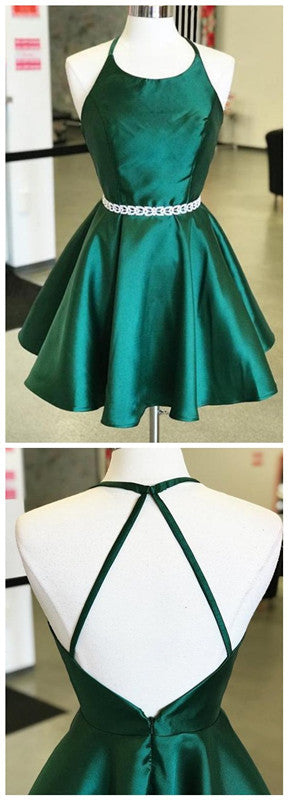 Emerald Green Sleeveless Backless A Line Satin Short Homecoming Dresses,6410