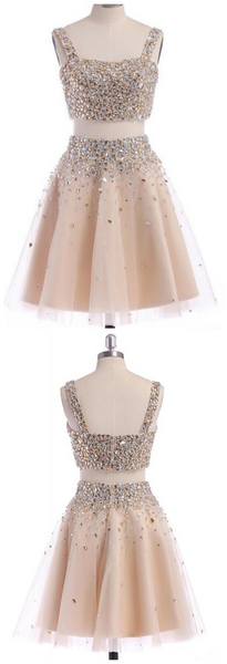 Two Piece Strap Homecoming Dress with Crystals, A Line Tulle Short Party Dress,6412
