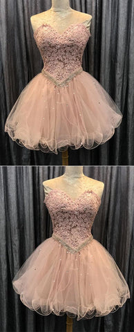 Pink homecoming dress, Cute homecoming dress, Short prom gowns, Elegant sweetheart cocktail dress,6424