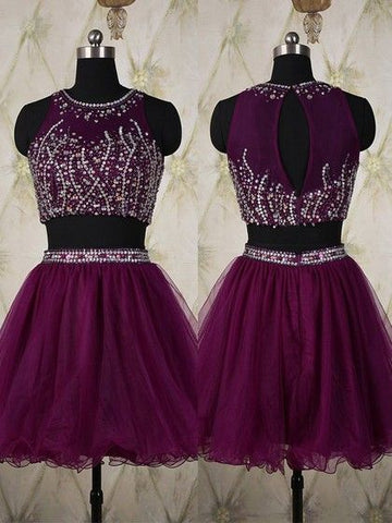 Scoop Neck Grape Tulle Short/Mini Crystal Detailing Two-pieces Prom Dress,6436