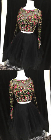 Cute black two pieces lace short prom dress,long sleeve evening dress,6443