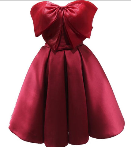 Red Satin and Organza Bow Short Cute Party Dress, Handmade Formal Dress ,6446