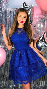 Elegant royal blue lace homecoming dress, fashion A-line tiered graduation dress,6448