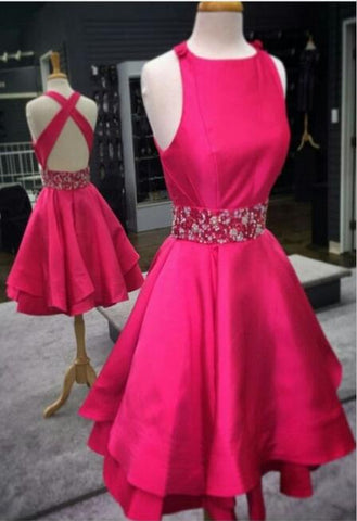 A line Rose Red Homecoming Dress,Short Party Dress,Knee Length Graduation Dress,Beading Homecoming Dresses,6453