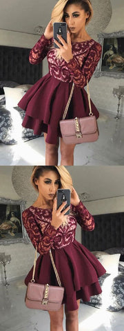 Dark Burgundy Homecoming Dress Short Prom Dress with Long Sleeves,6456