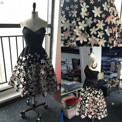 Sweet 16 Prom DRESS sHORT, knee Length Black Homecoming Dress Short , Women Party Dress With Flowers 3D,6458