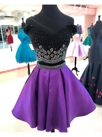Short Off Shoulder Prom Homecoming Dresses Lace Embroidery Short Purple Prom Dresses,6459
