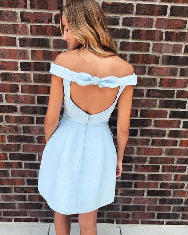 Light Blue Open Back Off the Shoulder Short Prom Dress, Above Knee Length Short Homecoming Dresses,6461