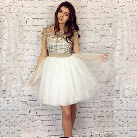 A-Line Homecoming Dress,Ivory Homecoming Dresses,Tulle Homecoming Dresses,Short Homecoming Dress with Bow-knot,6462
