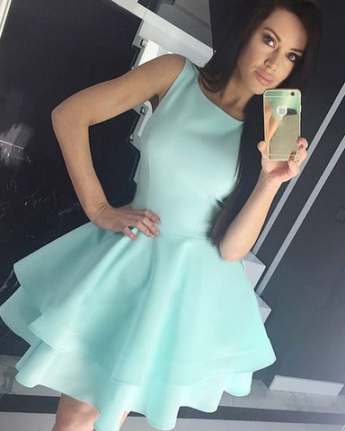 Crew Neck Light Mint Homecoming Dress with Layered Skirt,6463