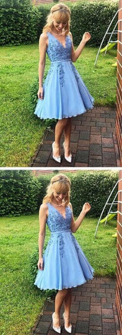 Simple Blue Homecoming Dress,Cheap Prom Dress,Sexy Homecoming Dress,V-Neck Lace Homecoming Dress,6465