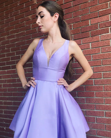 Simply V-Neck Lavender Homecoming Dresses Cute Short Prom Dress,6468