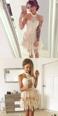 A-Line Halter Backless Light Champagne Homecoming Dress with Ruffles,6490