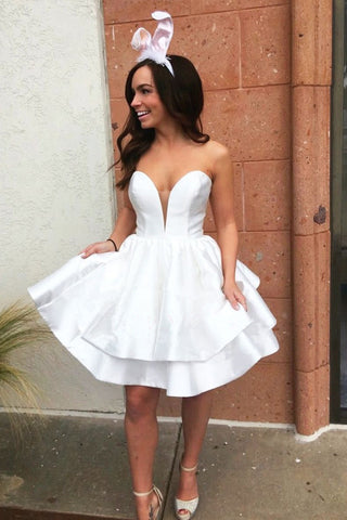 Simple Sweetheart Short White Homecoming Dress,6494