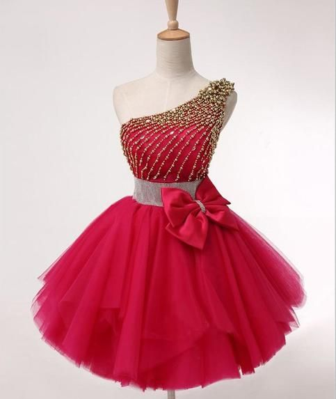 One Shoulder ,Red Homecoming Prom Dresses, Affordable Custom Short Party Prom Dresses, Perfect Homecoming Dresses,6495