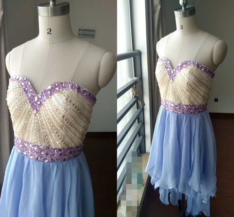 High Low Chiffon and Beaded Homecoming Dresses, High Low Prom Dress,Charming Prom Dress,6497