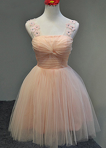 Straps A-line Tulle Pink Homecoming Dress Mini Women Party Dress,6498