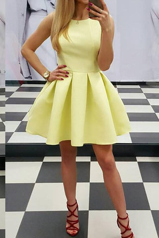 Simply Yellow Round Neck Sleeveless Homecoming Dress,Mini Party Dress,6499