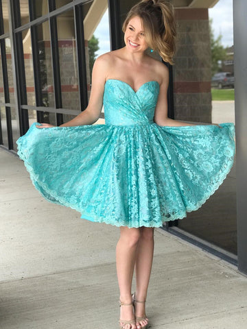 Sweetheart Short Lace Tiffany Blue Homecoming Dress,A-Line Party Dress.6500